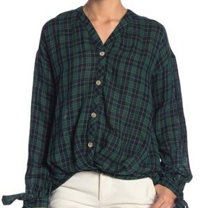 Blu Pepper Plaid Long Sleeve Hi-Lo Top